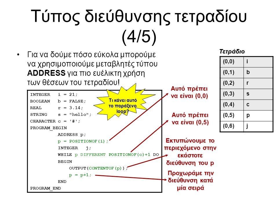 Τύπος διεύθυνσης τετραδίου (4/5) Για να δούμε πόσο εύκολα μπορούμε να χρησιμοποιούμε μεταβλητές τύπου ADDRESS για πιο ευέλικτη χρήση των θέσεων του τε