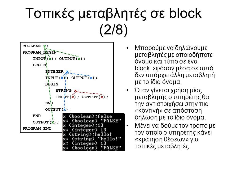 Τοπικές μεταβλητές σε block (2/8) BOOLEAN x; PROGRAM_BEGIN INPUT(x); OUTPUT(x); BEGIN INTEGER x; INPUT(x); OUTPUT(x); BEGIN STRING x; INPUT(x); OUTPUT(x); END OUTPUT(x); END OUTPUT(x); PROGRAM_END Μπορούμε να δηλώνουμε μεταβλητές με οποιοδήποτε όνομα και τύπο σε ένα block, εφόσον μέσα σε αυτό δεν υπάρχει άλλη μεταβλητή με το ίδιο όνομα.