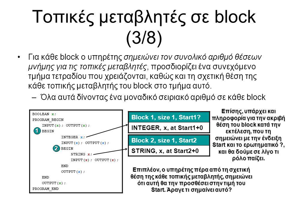 Τοπικές μεταβλητές σε block (3/8) Για κάθε block ο υπηρέτης σημειώνει τον συνολικό αριθμό θέσεων μνήμης για τις τοπικές μεταβλητές, προσδιορίζει ένα συνεχόμενο τμήμα τετραδίου που χρειάζονται, καθώς και τη σχετική θέση της κάθε τοπικής μεταβλητής του block στο τμήμα αυτό.
