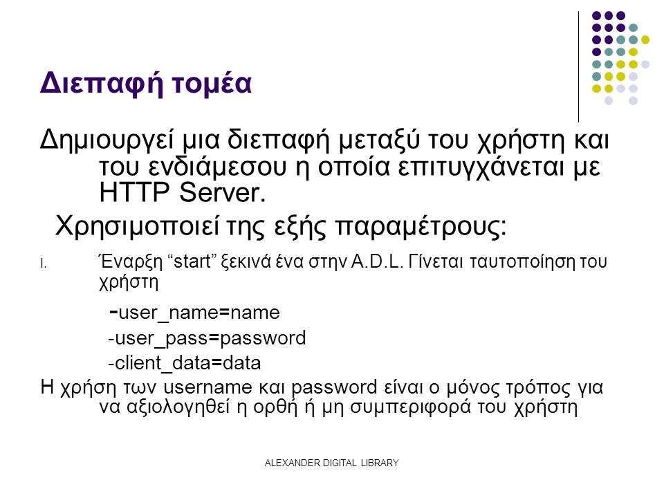 Διεπαφή τομέα Δημιουργεί μια διεπαφή μεταξύ του χρήστη και του ενδιάμεσου η οποία επιτυγχάνεται με HTTP Server.