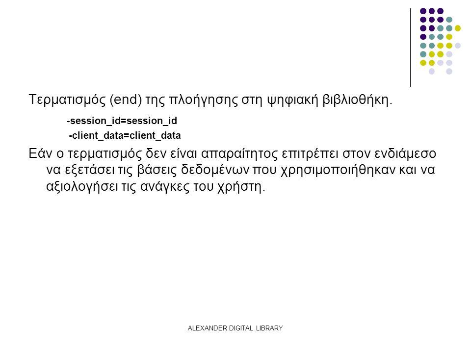 ALEXANDER DIGITAL LIBRARY Τερματισμός (end) της πλοήγησης στη ψηφιακή βιβλιοθήκη.