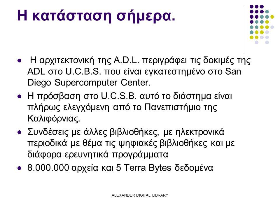 ALEXANDER DIGITAL LIBRARY Η κατάσταση σήμερα. Η αρχιτεκτονική της A.D.L.