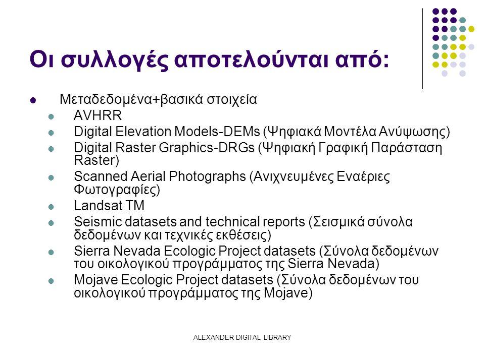 ALEXANDER DIGITAL LIBRARY Οι συλλογές αποτελούνται από: Μεταδεδομένα+βασικά στοιχεία AVHRR Digital Elevation Models-DEMs (Ψηφιακά Μοντέλα Ανύψωσης) Digital Raster Graphics-DRGs (Ψηφιακή Γραφική Παράσταση Raster) Scanned Aerial Photographs (Ανιχνευμένες Εναέριες Φωτογραφίες) Landsat TM Seismic datasets and technical reports (Σεισμικά σύνολα δεδομένων και τεχνικές εκθέσεις) Sierra Nevada Ecologic Project datasets (Σύνολα δεδομένων του οικολογικού προγράμματος της Sierra Nevada) Mojave Ecologic Project datasets (Σύνολα δεδομένων του οικολογικού προγράμματος της Mojave)