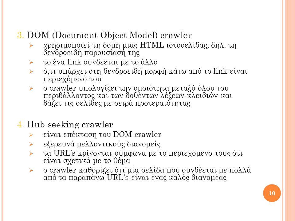 3. DOM (Document Object Model) crawler  χρησιμοποιεί τη δομή μιας HTML ιστοσελίδας, δηλ.