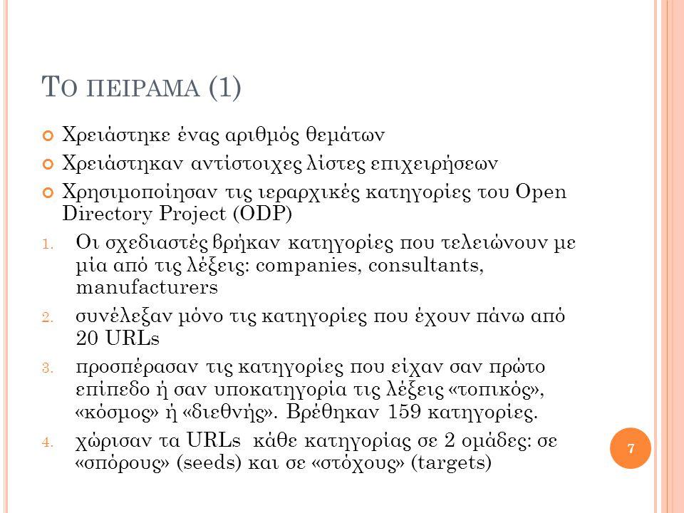 Τ Ο ΠΕΙΡΑΜΑ (1) Χρειάστηκε ένας αριθμός θεμάτων Χρειάστηκαν αντίστοιχες λίστες επιχειρήσεων Χρησιμοποίησαν τις ιεραρχικές κατηγορίες του Open Directory Project (ODP) 1.