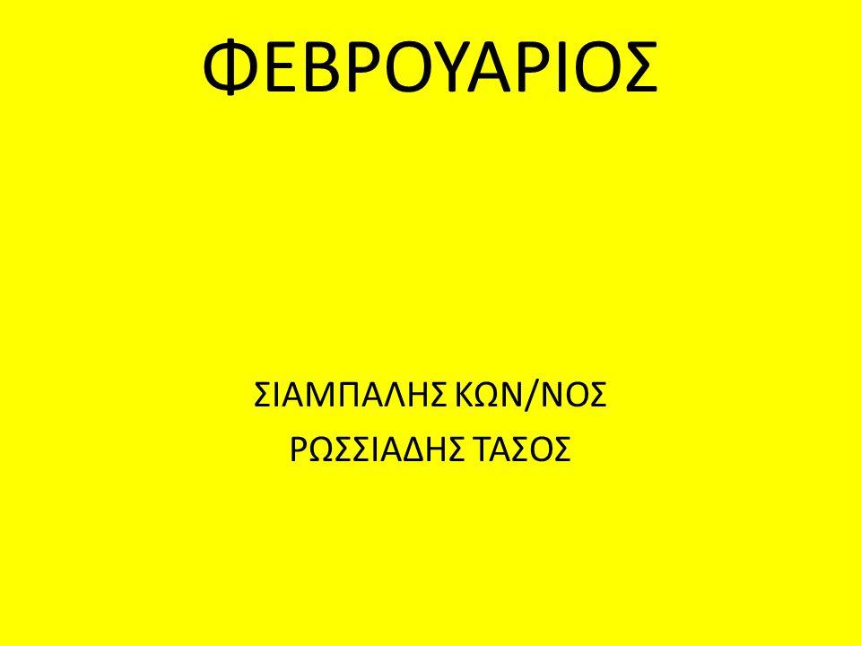 ΦΕΒΡΟΥΑΡΙΟΣ ΣΙΑΜΠΑΛΗΣ ΚΩΝ/ΝΟΣ ΡΩΣΣΙΑΔΗΣ ΤΑΣΟΣ