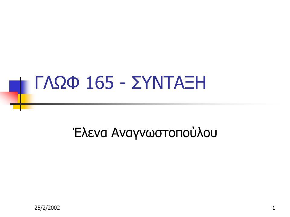25/2/20021 ΓΛΩΦ 165 - ΣΥΝΤΑΞΗ Έλενα Αναγνωστοπούλου