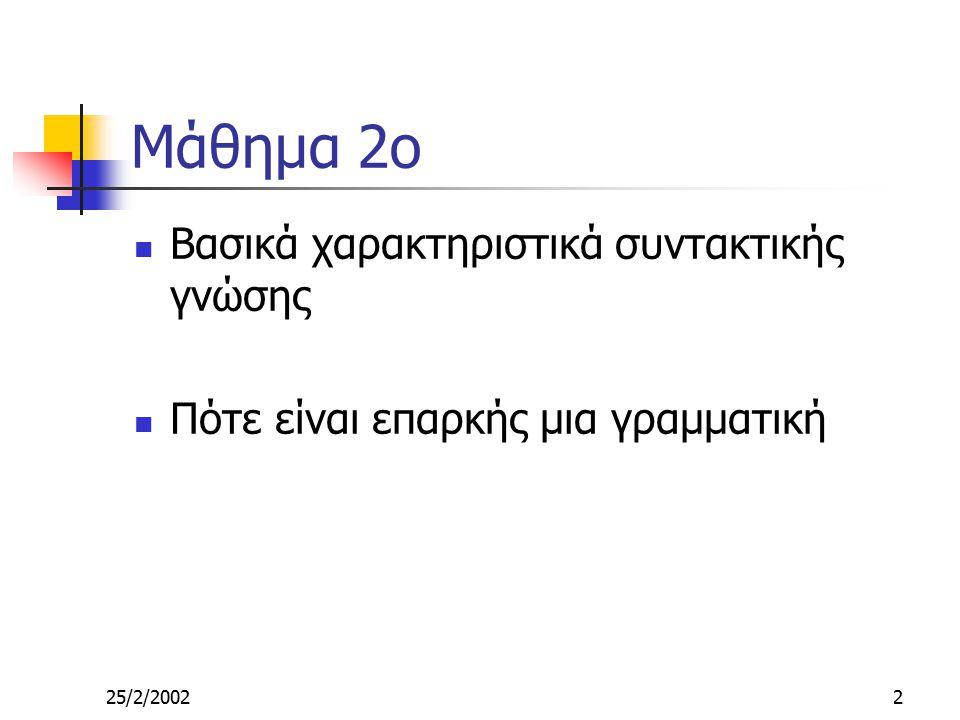 25/2/20022 Μάθημα 2ο Βασικά χαρακτηριστικά συντακτικής γνώσης Πότε είναι επαρκής μια γραμματική