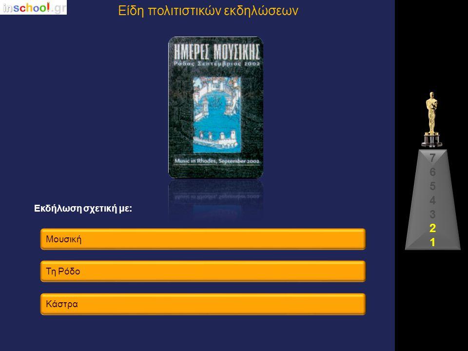 Μύθους & λατρείες Ταύρουςστη Μεσόγειο Ταυρομαχίες 76543217654321 Εκδήλωση σχετική με: Είδη πολιτιστικών εκδηλώσεων