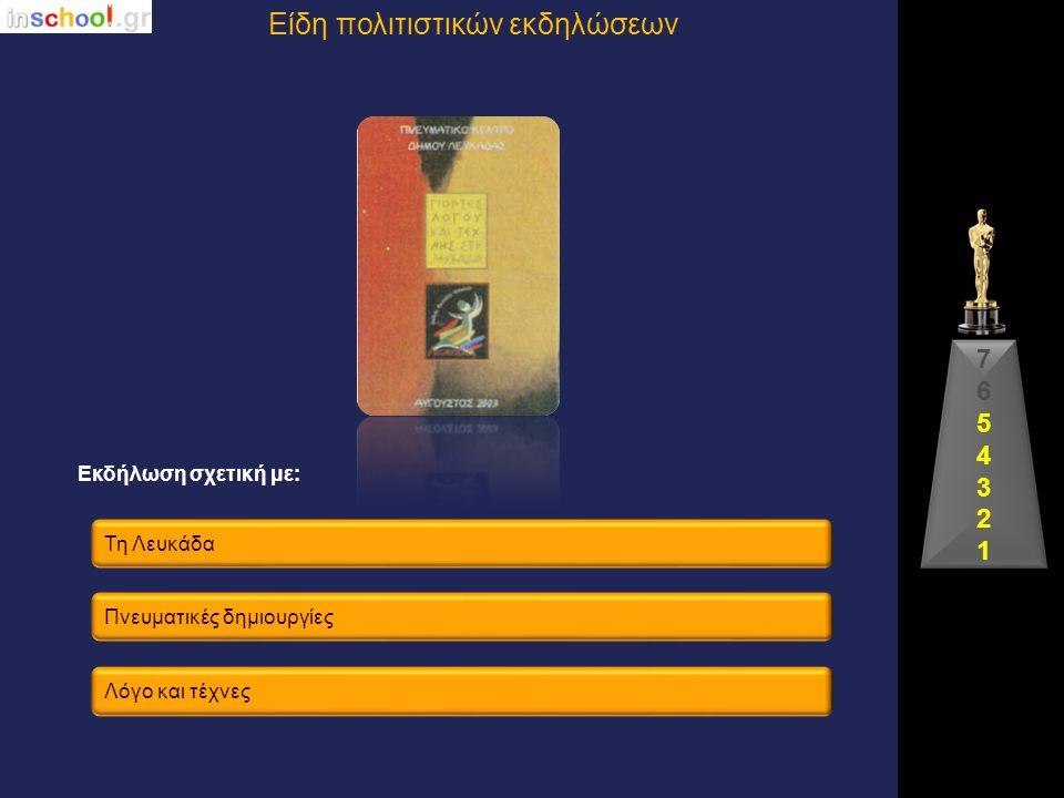 Τη Θεσσαλονίκη Γραμματική Γράμματα και τέχνες Εκδήλωση σχετική με: Είδη πολιτιστικών εκδηλώσεων 76543217654321