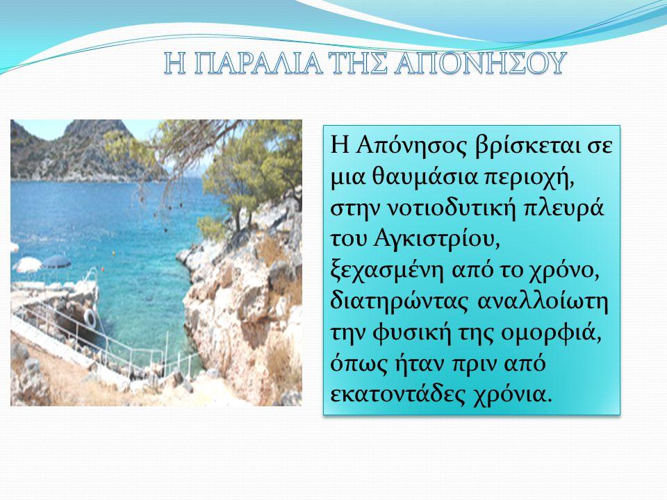 Η Απόνησος βρίσκεται σε μια θαυμάσια περιοχή, στην νοτιοδυτική πλευρά του Αγκιστρίου, ξεχασμένη από το χρόνο, διατηρώντας αναλλοίωτη την φυσική της ομ