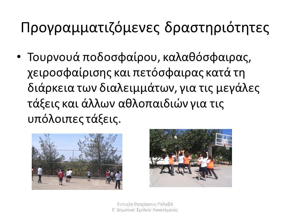 Προγραμματιζόμενες δραστηριότητες Τουρνουά ποδοσφαίρου, καλαθόσφαιρας, χειροσφαίρισης και πετόσφαιρας κατά τη διάρκεια των διαλειμμάτων, για τις μεγάλ