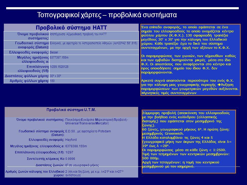 Προβολικό σύστημα ΕΓΣΑ 87 Επίσημη ονομασία : Ελληνικό Γεωδαιτικό Σύστημα Αναφοράς 87 Γεωδαιτικό σύστημα αναφοράς (Datum): Ε.Γ.Σ.Α.