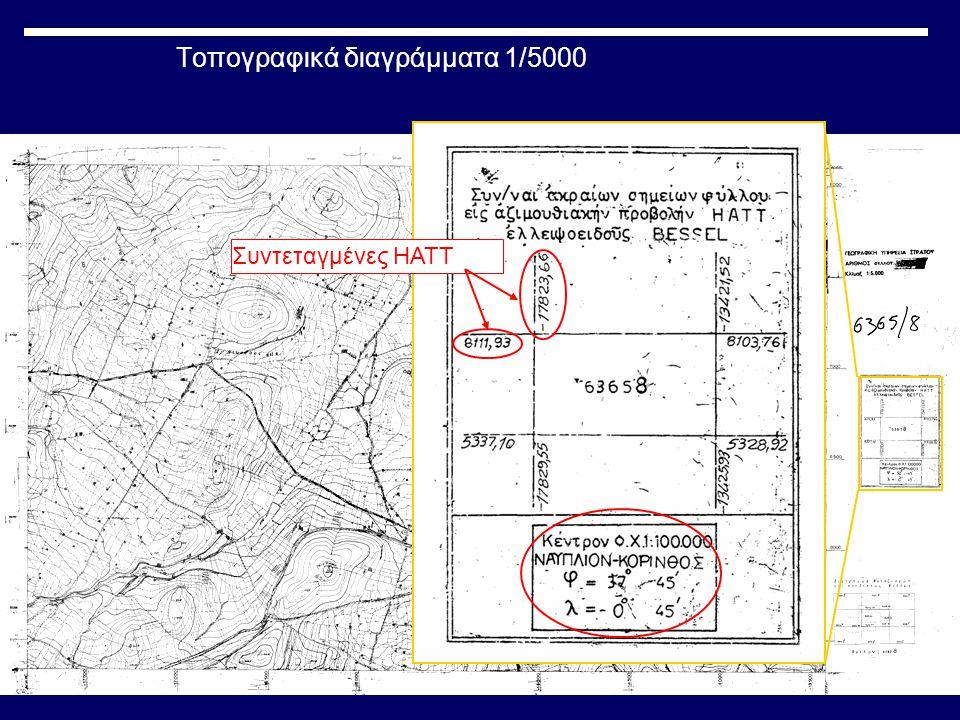 Τοπογραφικά διαγράμματα 1/5000 Συντεταγμένες HATT