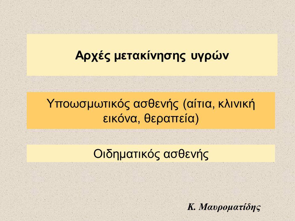 Αρχές μετακίνησης υγρών Οιδηματικός ασθενής Υποωσμωτικός ασθενής (αίτια, κλινική εικόνα, θεραπεία) Κ. Μαυροματίδης