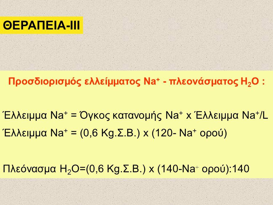 ΘΕΡΑΠΕΙΑ-III Προσδιορισμός ελλείμματος Na + - πλεονάσματος Η 2 Ο : Έλλειμμα Na + = Όγκος κατανομής Na + x Έλλειμμα Na + /L Έλλειμμα Na + = (0,6 Kg.Σ.Β.) x (120- Na + ορού) Πλεόνασμα Η 2 Ο=(0,6 Kg.Σ.Β.) x (140-Na + ορού):140