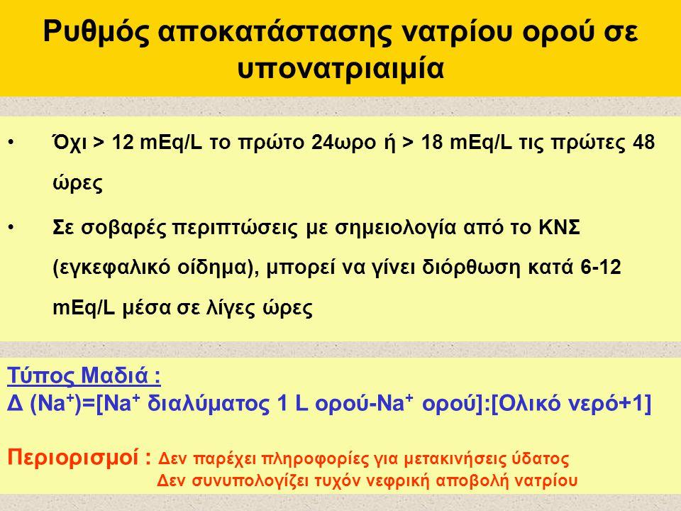 Ρυθμός αποκατάστασης νατρίου ορού σε υπονατριαιμία Όχι > 12 mEq/L το πρώτο 24ωρο ή > 18 mEq/L τις πρώτες 48 ώρες Σε σοβαρές περιπτώσεις με σημειολογία από το ΚΝΣ (εγκεφαλικό οίδημα), μπορεί να γίνει διόρθωση κατά 6-12 mEq/L μέσα σε λίγες ώρες Τύπος Μαδιά : Δ (Na + )=[Na + διαλύματος 1 L ορού-Na + ορού]:[Ολικό νερό+1] Περιορισμοί : Δεν παρέχει πληροφορίες για μετακινήσεις ύδατος Δεν συνυπολογίζει τυχόν νεφρική αποβολή νατρίου