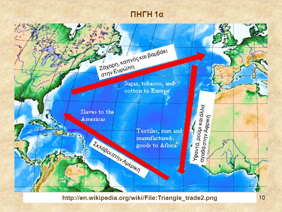 10 Ζάχαρη, καπνός και βαμβάκι στην Ευρώπη Υφαντά, ρούμι και άλλα αγαθά στην Αφρική Σκλάβοι στην Αμερική http://en.wikipedia.org/wiki/File:Triangle_trade2.png ΠΗΓΗ 1α