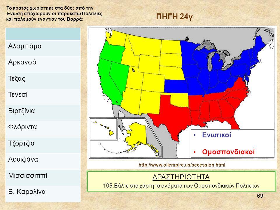 69 Ενωτικοί Ομοσπονδιακοί Το κράτος χωρίστηκε στα δύο: από την Ένωση αποχωρούν οι παρακάτω Πολιτείες και πολεμούν εναντίον του Βορρά: http://www.oilempire.us/secession.html Αλαμπάμα Αρκανσό Τέξας Τενεσί Βιρτζίνια Φλόριντα Τζόρτζια Λουιζιάνα Μισσισσιππί Β.