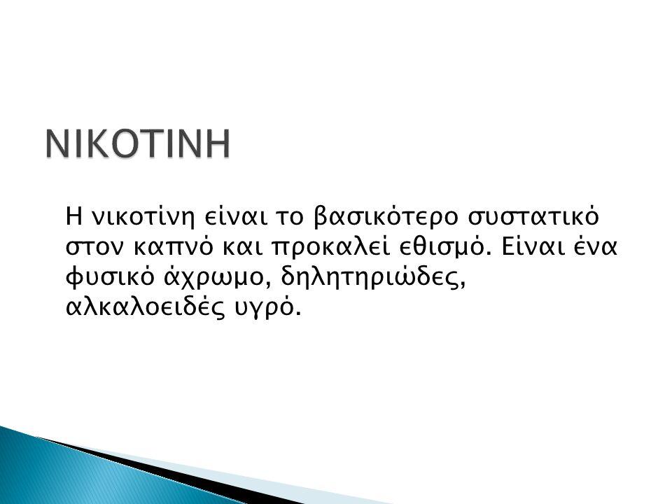 Η νικοτίνη είναι το βασικότερο συστατικό στον καπνό και προκαλεί εθισμό. Είναι ένα φυσικό άχρωμο, δηλητηριώδες, αλκαλοειδές υγρό.