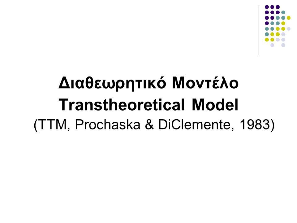 Εισαγωγικά Θεμελιωτές του μοντέλου οι James Prochaska και Carlo DiClemente Rhode Island Group Προσπάθεια ενσωμάτωσης εννοιών από διάφορες θεωρίες σε μία εννιαία θεωρία για την κατανόηση της αλλαγής της συμπεριφοράς (διαθεωρητικό μοντέλο) Καινοτομία: θεώρηση των σταδίων αλλαγής Η θεωρία αρχικά προέκυψε μέσα από τη μελέτη της διακοπής του καπνίσματος