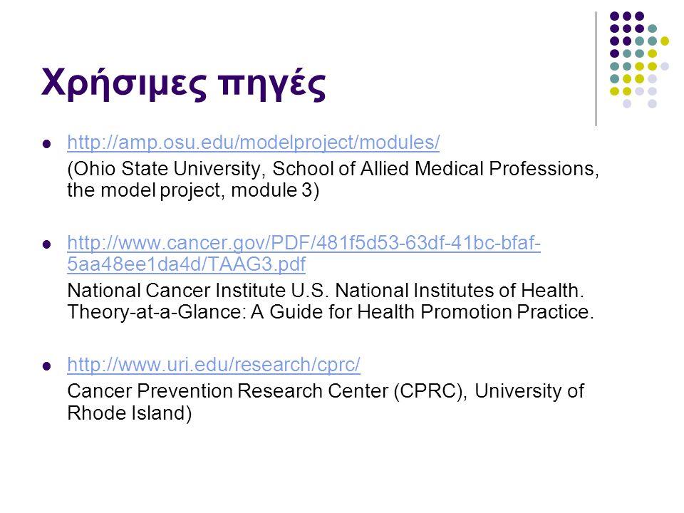Χρήσιμες πηγές http://amp.osu.edu/modelproject/modules/ (Ohio State University, School of Allied Medical Professions, the model project, module 3) http://www.cancer.gov/PDF/481f5d53-63df-41bc-bfaf- 5aa48ee1da4d/TAAG3.pdf http://www.cancer.gov/PDF/481f5d53-63df-41bc-bfaf- 5aa48ee1da4d/TAAG3.pdf National Cancer Institute U.S.