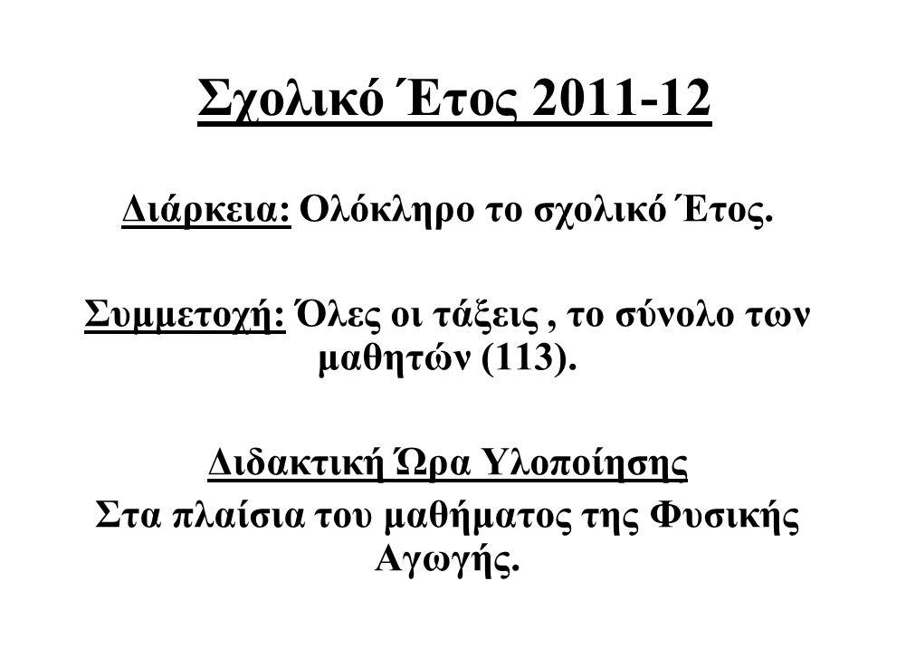 Σχολικό Έτος 2011-12 Διάρκεια: Ολόκληρο το σχολικό Έτος. Συμμετοχή: Όλες οι τάξεις, το σύνολο των μαθητών (113). Διδακτική Ώρα Υλοποίησης Στα πλαίσια