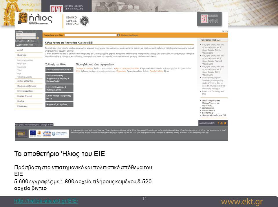 11 Το αποθετήριο 'Ηλιος του ΕΙΕ Πρόσβαση στο επιστημονικό και πολιτιστικό απόθεμα του ΕΙΕ 5.600 εγγραφές με 1.800 αρχεία πλήρους κειμένου & 520 αρχεία βιντεο http://helios-eie.ekt.gr/EIE/