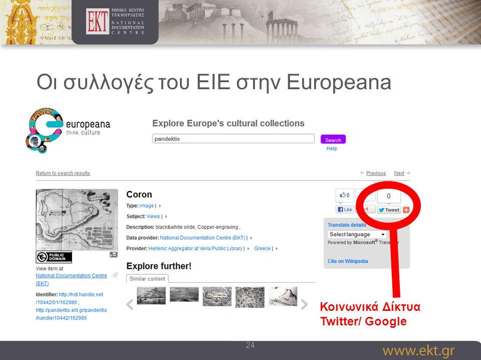 24 Οι συλλογές του ΕΙΕ στην Europeana Κοινωνικά Δίκτυα Twitter/ Google