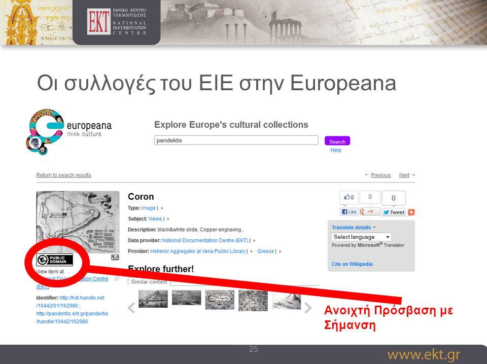 25 Οι συλλογές του ΕΙΕ στην Europeana Aνοιχτή Πρόσβαση με Σήμανση