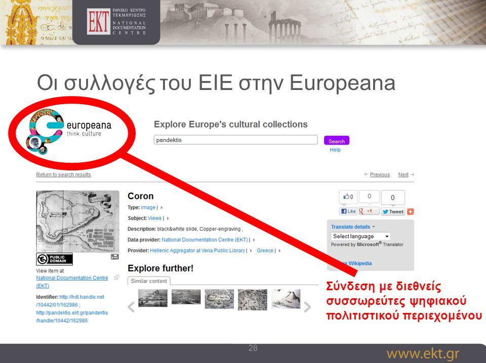 28 Οι συλλογές του ΕΙΕ στην Europeana Σύνδεση με διεθνείς συσσωρεύτες ψηφιακού πολιτιστικού περιεχομένου