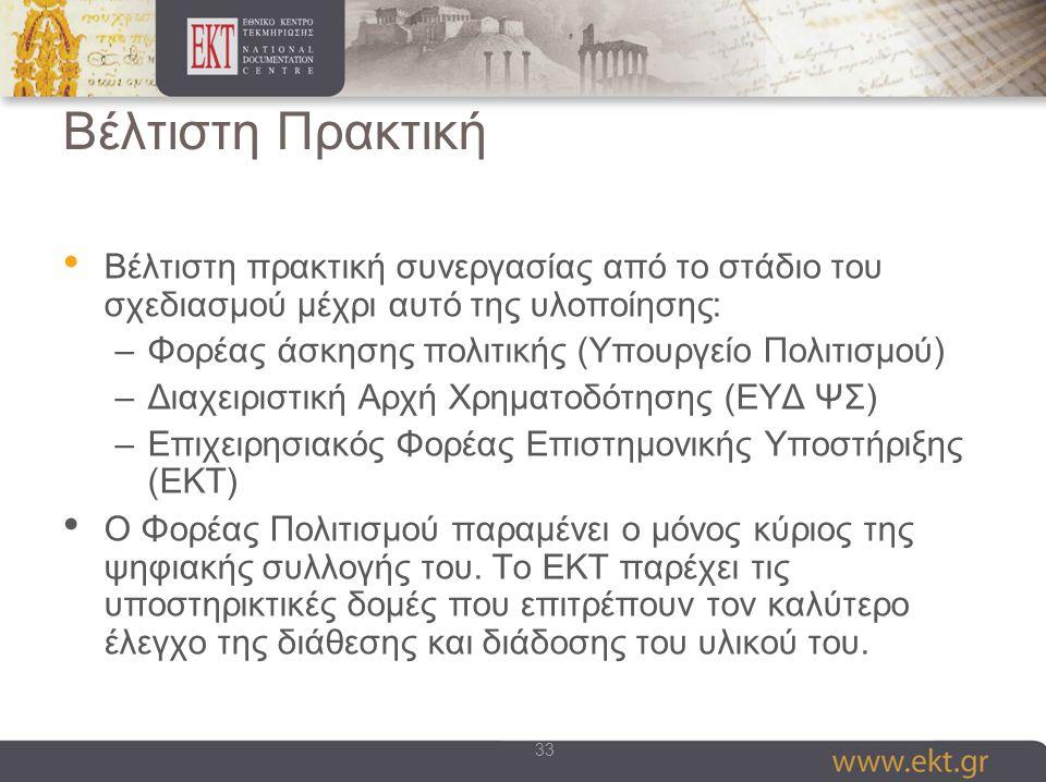 33 Βέλτιστη Πρακτική Βέλτιστη πρακτική συνεργασίας από το στάδιο του σχεδιασμού μέχρι αυτό της υλοποίησης: –Φορέας άσκησης πολιτικής (Υπουργείο Πολιτισμού) –Διαχειριστική Αρχή Χρηματοδότησης (ΕΥΔ ΨΣ) –Επιχειρησιακός Φορέας Επιστημονικής Υποστήριξης (ΕΚΤ) Ο Φορέας Πολιτισμού παραμένει ο μόνος κύριος της ψηφιακής συλλογής του.