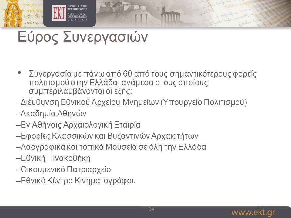34 Εύρος Συνεργασιών Συνεργασία με πάνω από 60 από τους σημαντικότερους φορείς πολιτισμού στην Ελλάδα, ανάμεσα στους οποίους συμπεριλαμβάνονται οι εξής: –Διέυθυνση Εθνικού Αρχείου Μνημείων (Υπουργείο Πολιτισμού) –Ακαδημία Αθηνών –Εν Αθήναις Αρχαιολογική Εταιρία –Εφορίες Κλασσικών και Βυζαντινών Αρχαιοτήτων –Λαογραφικά και τοπικά Μουσεία σε όλη την Ελλάδα –Εθνική Πινακοθήκη –Οικουμενικό Πατριαρχείο –Εθνικό Κέντρο Κινηματογράφου