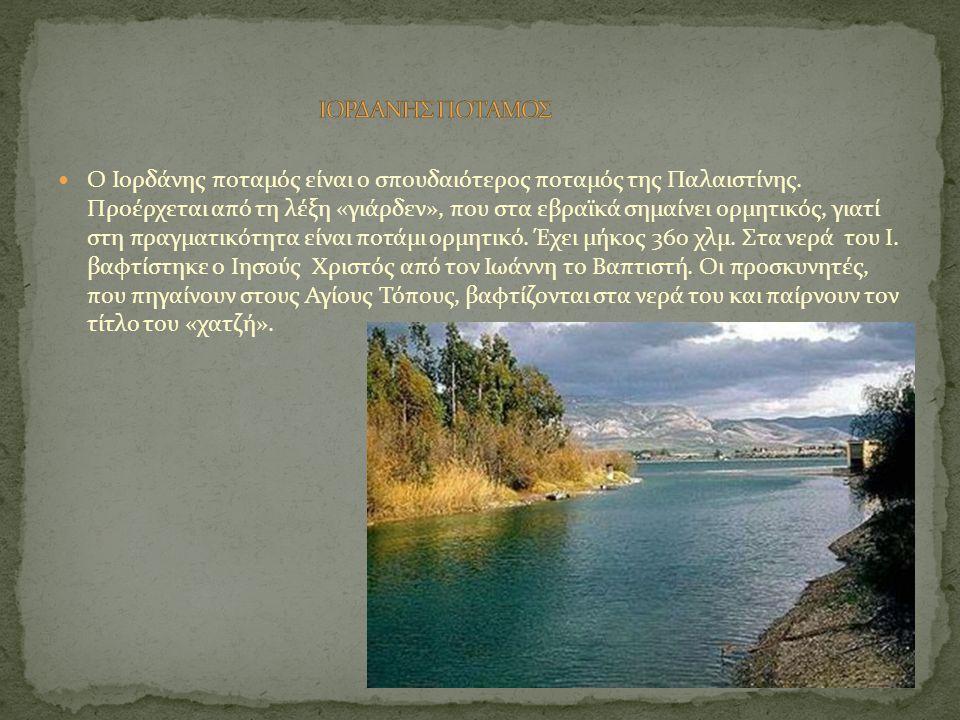 Ο Ιορδάνης ποταμός είναι ο σπουδαιότερος ποταμός της Παλαιστίνης. Προέρχεται από τη λέξη «γιάρδεν», που στα εβραϊκά σημαίνει ορμητικός, γιατί στη πραγ