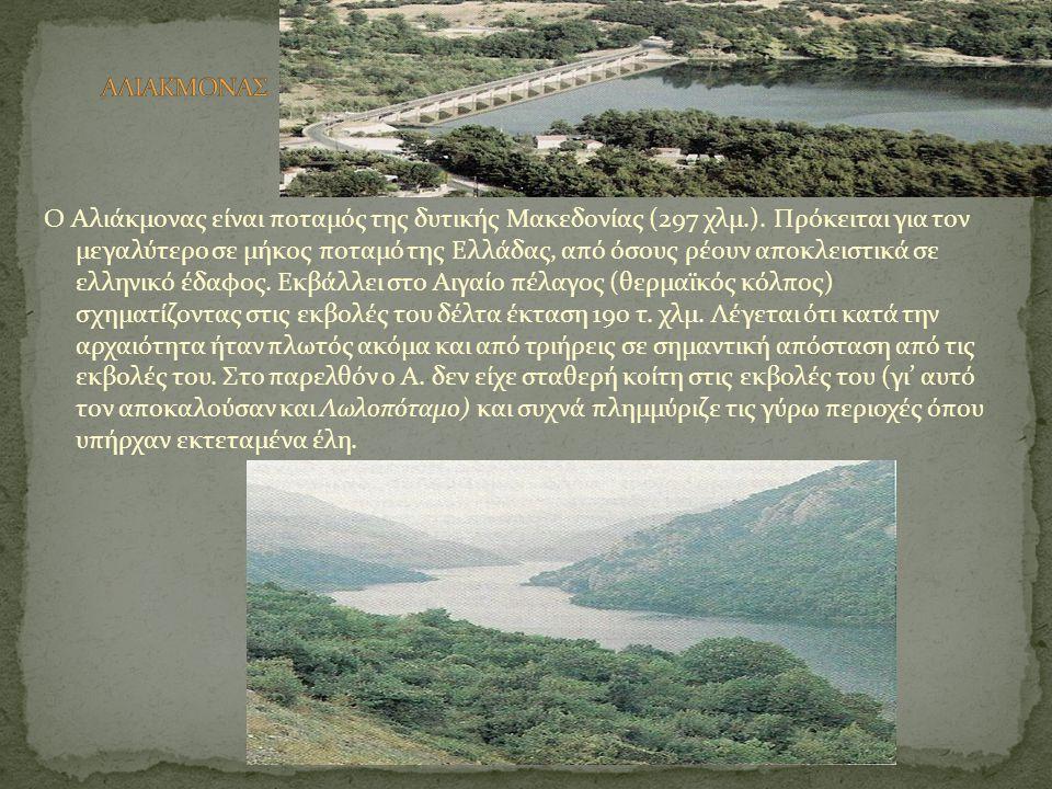 Ο Αλιάκμονας είναι ποταμός της δυτικής Μακεδονίας (297 χλμ.). Πρόκειται για τον μεγαλύτερο σε μήκος ποταμό της Ελλάδας, από όσους ρέουν αποκλειστικά σ