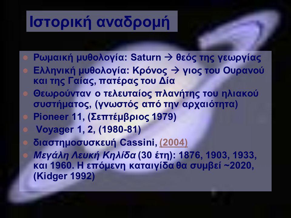 Ιστορική αναδρομή Ρωμαική μυθολογία: Saturn  θεός της γεωργίας Ελληνική μυθολογία: Κρόνος  γιος του Ουρανού και της Γαίας, πατέρας του Δία Θεωρούνταν ο τελευταίος πλανήτης του ηλιακού συστήματος, (γνωστός από την αρχαιότητα) Pioneer 11, (Σεπτέμβριος 1979) Voyager 1, 2, (1980-81) διαστημοσυσκευή Cassini, (2004)(2004) Μεγάλη Λευκή Κηλίδα (30 έτη): 1876, 1903, 1933, και 1960.