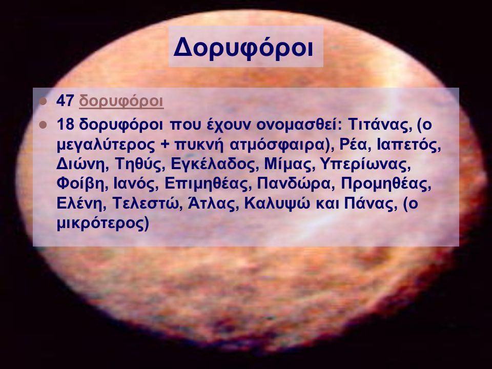 Δορυφόροι 47 δορυφόροιδορυφόροι 18 δορυφόροι που έχουν ονομασθεί: Τιτάνας, (ο μεγαλύτερος + πυκνή ατμόσφαιρα), Ρέα, Ιαπετός, Διώνη, Τηθύς, Εγκέλαδος, Μίμας, Υπερίωνας, Φοίβη, Ιανός, Επιμηθέας, Πανδώρα, Προμηθέας, Ελένη, Τελεστώ, Άτλας, Καλυψώ και Πάνας, (ο μικρότερος)