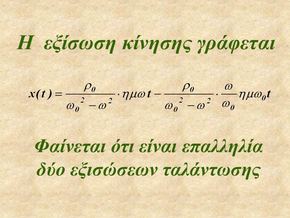 Η εξίσωση κίνησης γράφεται Φαίνεται ότι είναι επαλληλία δύο εξισώσεων ταλάντωσης