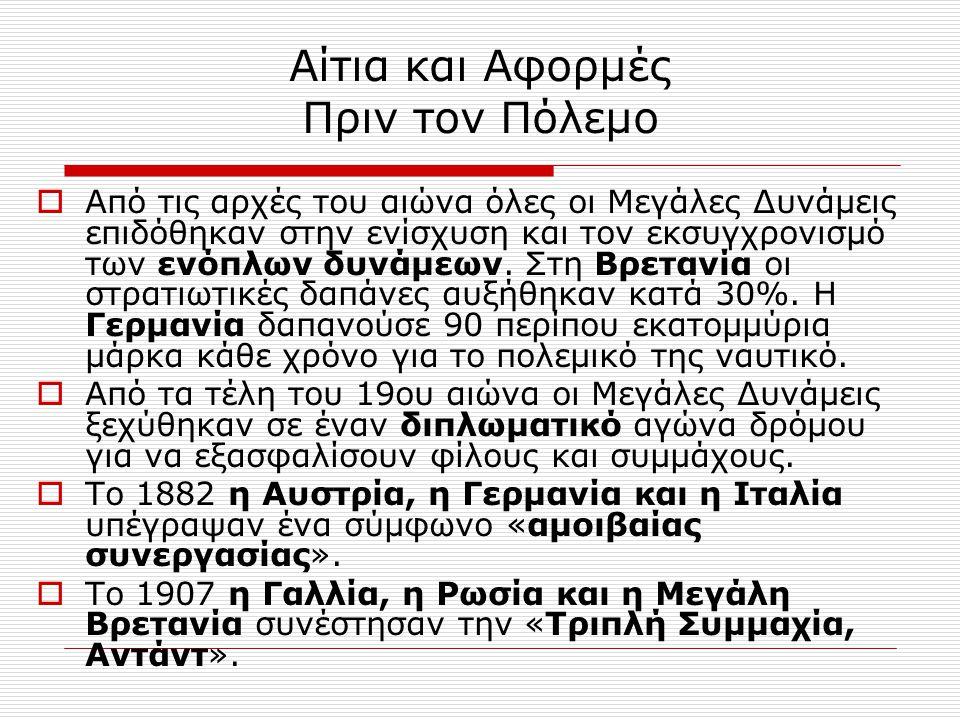 Μέτωπα  Δυτικό Μέτωπο  Ανατολικό Μέτωπο  Βαλκανικό Μέτωπο  Ιταλικό Μέτωπο  Μεσανατολικό Μέτωπο  Ο πόλεμος στις αποικίες  Ο πόλεμος στη θάλασσα