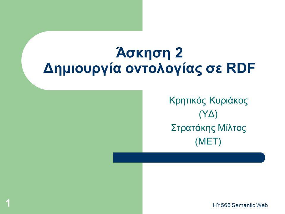 HY566 Semantic Web 1 Άσκηση 2 Δημιουργία οντολογίας σε RDF Κρητικός Κυριάκος (ΥΔ) Στρατάκης Μίλτος (ΜΕΤ)