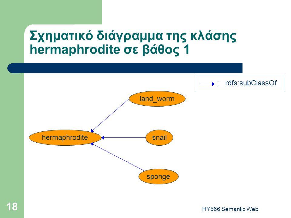 HY566 Semantic Web 18 Σχηματικό διάγραμμα της κλάσης hermaphrodite σε βάθος 1 : rdfs:subClassOf hermaphroditesnail land_worm sponge