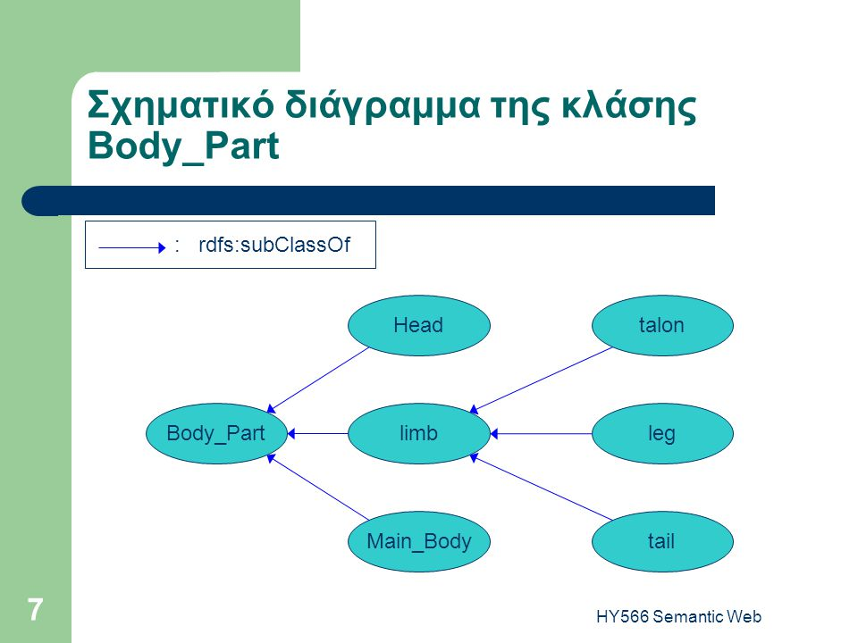 HY566 Semantic Web 7 Σχηματικό διάγραμμα της κλάσης Body_Part Body_Partlimb Main_Body talonHead tail leg : rdfs:subClassOf