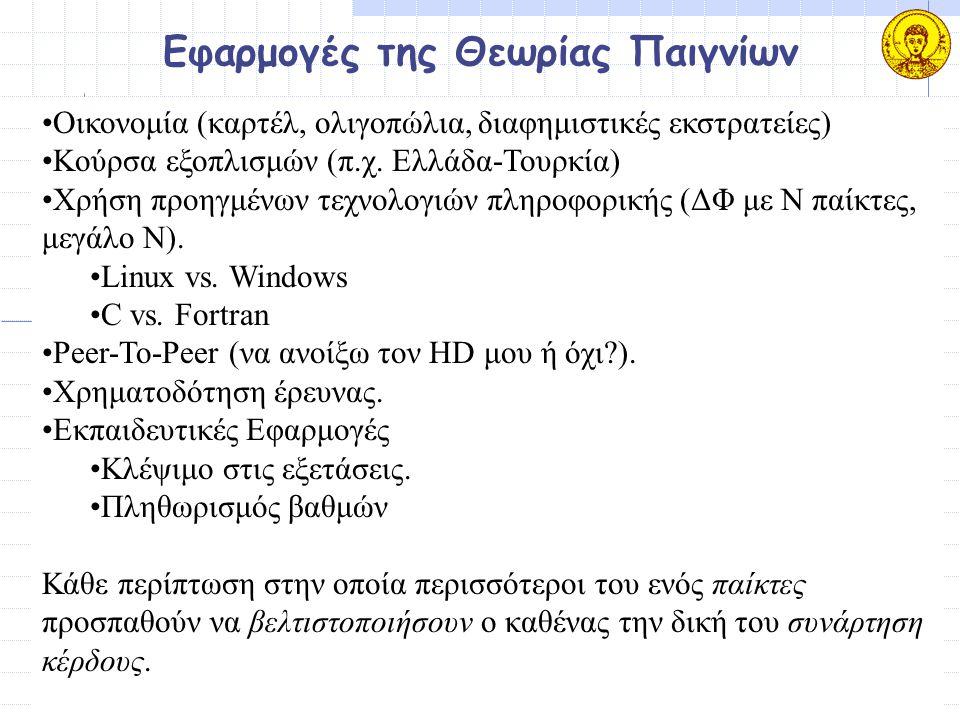 Εφαρμογές της Θεωρίας Παιγνίων Οικονομία (καρτέλ, ολιγοπώλια, διαφημιστικές εκστρατείες) Κούρσα εξοπλισμών (π.χ. Ελλάδα-Τουρκία) Χρήση προηγμένων τεχν