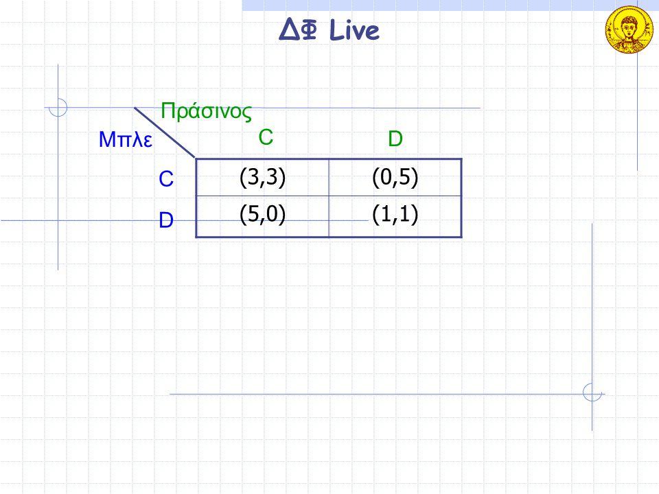 ΔΦ Live (3,3)(0,5) (5,0)(1,1) Μπλε Πράσινος C D C D