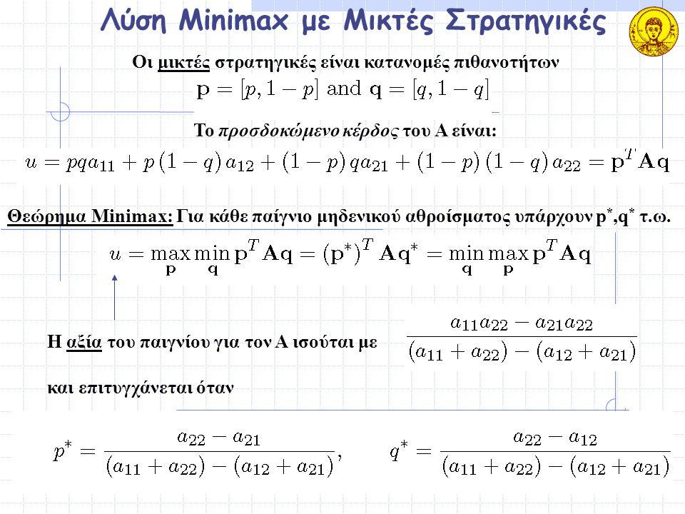 Λύση Minimax με Μικτές Στρατηγικές Οι μικτές στρατηγικές είναι κατανομές πιθανοτήτων Το προσδοκώμενο κέρδος του Α είναι: Θεώρημα Minimax: Για κάθε παί