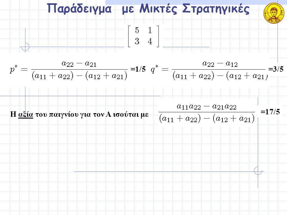 Παράδειγμα με Μικτές Στρατηγικές Η αξία του παιγνίου για τον Α ισούται με =1/5=3/5 =17/5