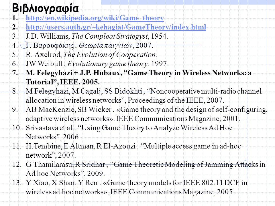 Βιβλιογραφία 1.http://en.wikipedia.org/wiki/Game_theoryhttp://en.wikipedia.org/wiki/Game_theory 2.http://users.auth.gr/~kehagiat/GameTheory/index.html