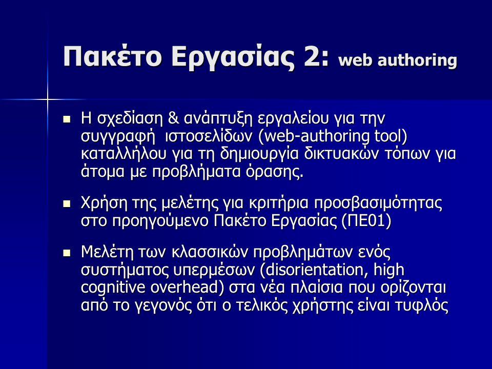 Πακέτο Εργασίας 2: web authoring Η σχεδίαση & ανάπτυξη εργαλείου για την συγγραφή ιστοσελίδων (web-authoring tool) καταλλήλου για τη δημιουργία δικτυακών τόπων για άτομα με προβλήματα όρασης.