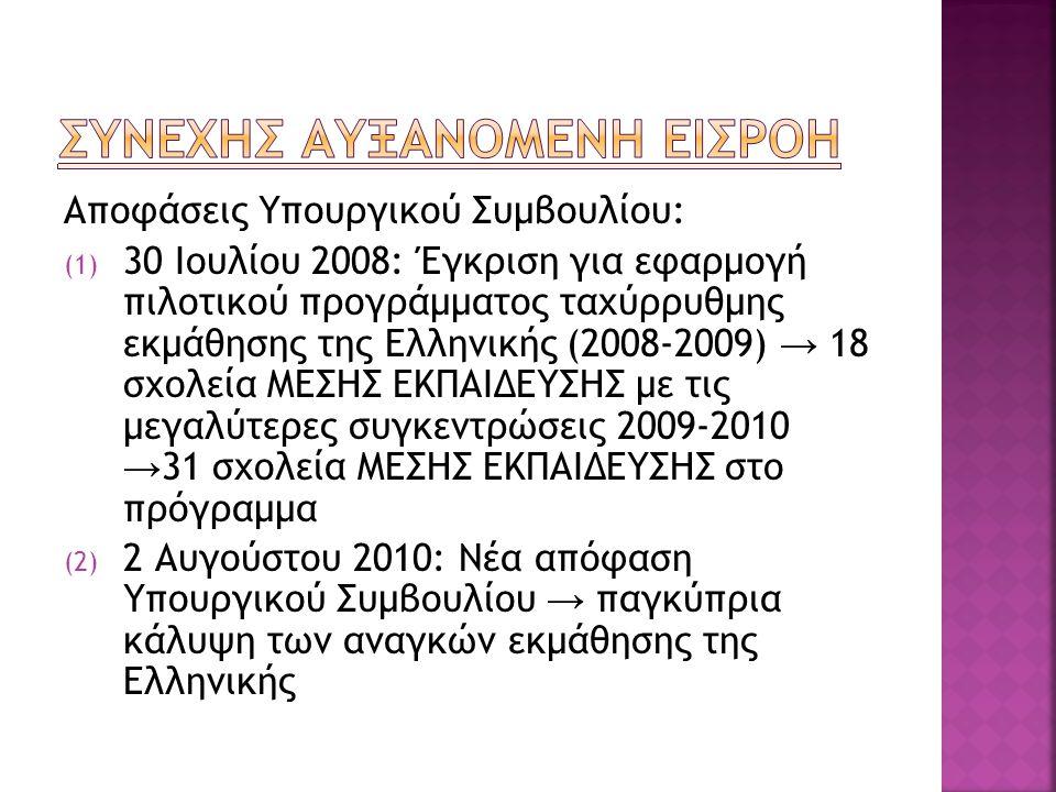 Αποφάσεις Υπουργικού Συμβουλίου: (1) 30 Ιουλίου 2008: Έγκριση για εφαρμογή πιλοτικού προγράμματος ταχύρρυθμης εκμάθησης της Ελληνικής (2008-2009) → 18 σχολεία ΜΕΣΗΣ ΕΚΠΑΙΔΕΥΣΗΣ με τις μεγαλύτερες συγκεντρώσεις 2009-2010 → 31 σχολεία ΜΕΣΗΣ ΕΚΠΑΙΔΕΥΣΗΣ στο πρόγραμμα (2) 2 Αυγούστου 2010: Νέα απόφαση Υπουργικού Συμβουλίου → παγκύπρια κάλυψη των αναγκών εκμάθησης της Ελληνικής
