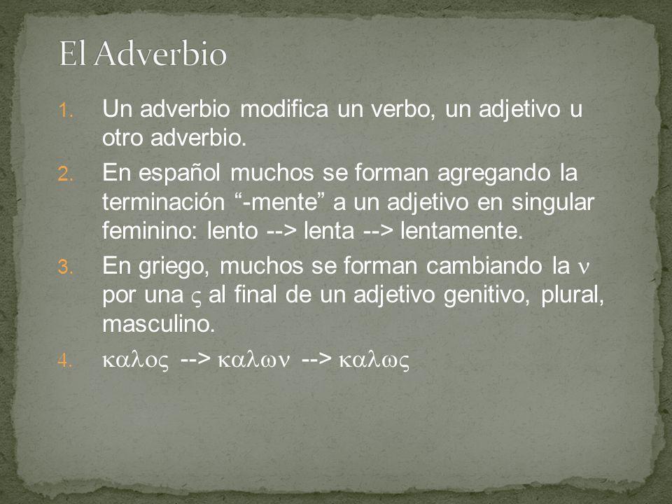 """1. Un adverbio modifica un verbo, un adjetivo u otro adverbio. 2. En español muchos se forman agregando la terminación """"-mente"""" a un adjetivo en singu"""